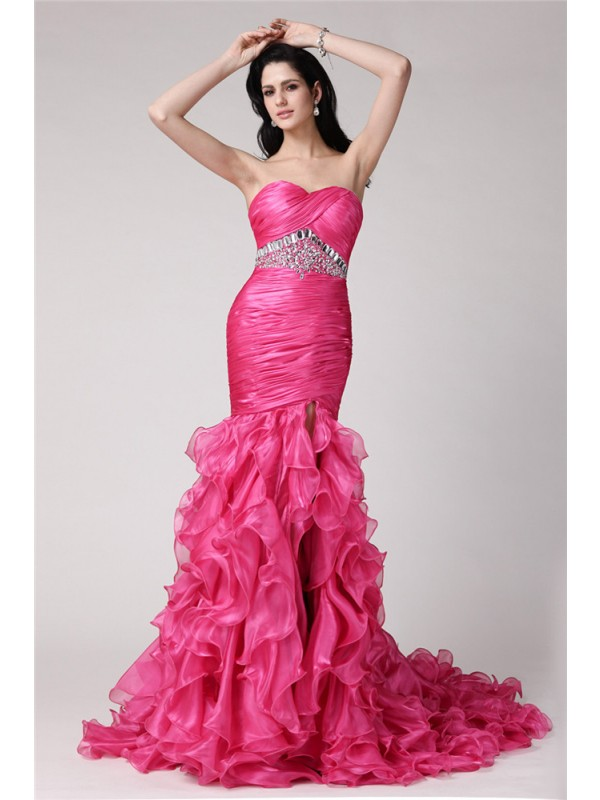 Hot Sale Mermaid Sweetheart Sleeveless Long Organza Dress