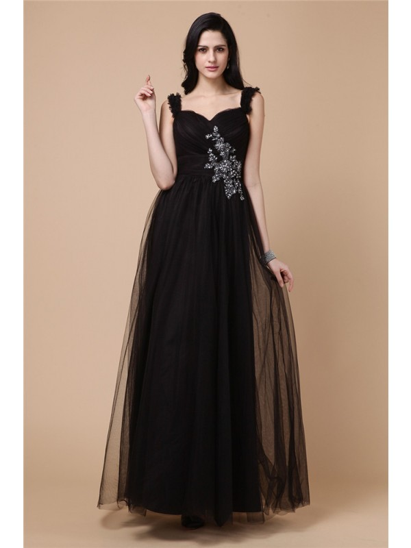 Modest A-Line Straps Sleeveless Net Dress