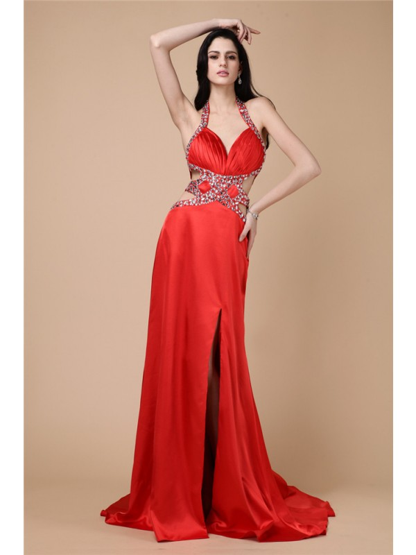 Hot Sale Sheath Halter Sleeveless Long Elastic Woven Satin Dress