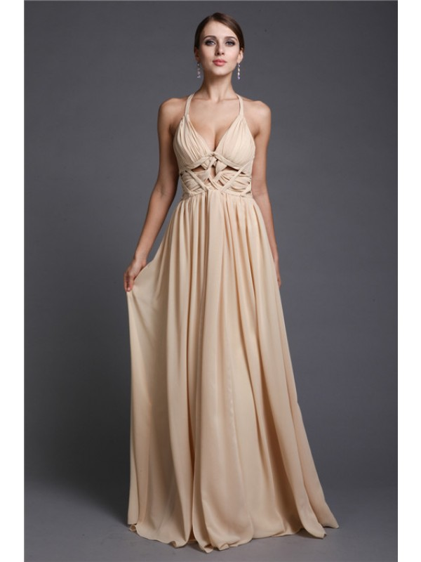 Modest A-Line V-neck Sleeveless Long Chiffon Dress