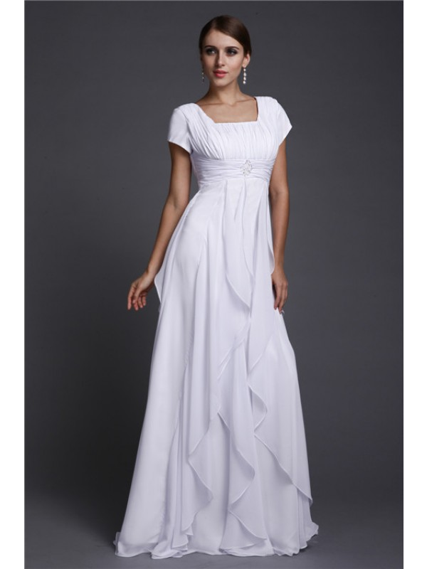 Modest A-Line Square Neck Short Sleeves Long Chiffon Dress