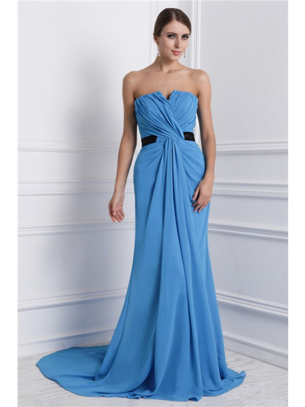 Modest A-Line Strapless Sleeveless Long Chiffon Dress