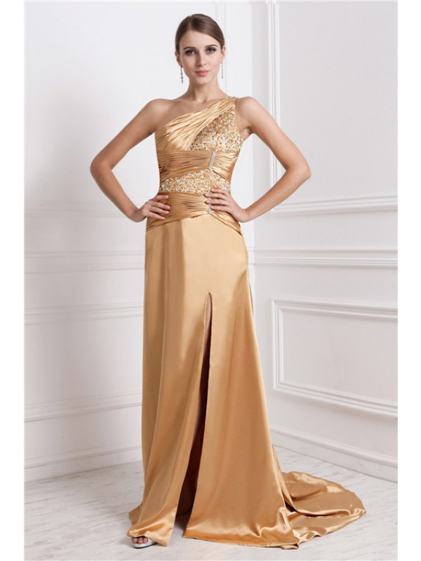 Modest A-Line One-Shoulder Sleeveless Long Elastic Woven Satin Dress