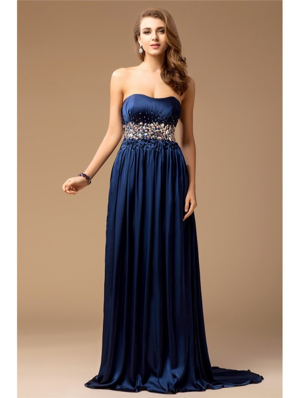Modest Sheath Strapless Sleeveless Long Silk like Satin Dress