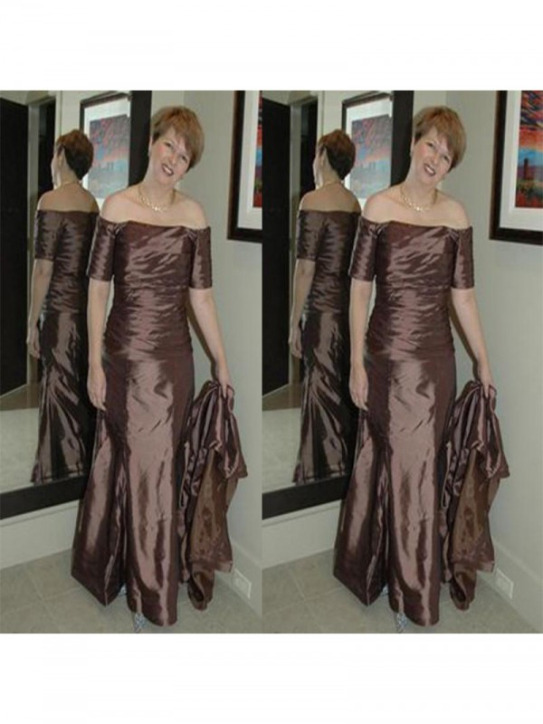 Fancy Sheath Off-the-Shoulder Short Sleeves Floor-Length Elastic Woven Satin Mother Of The Bride Dress
