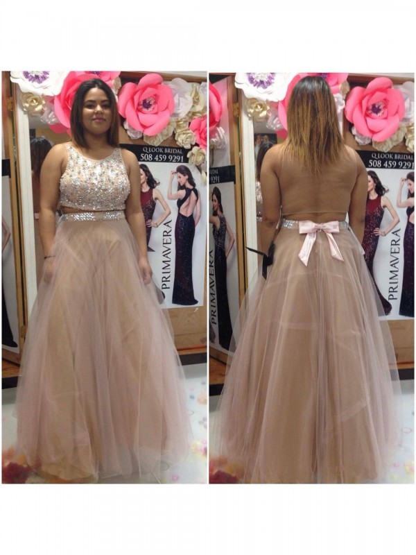 Charming A-Line Scoop Sleeveless Floor-Length Tulle Plus Size Dress