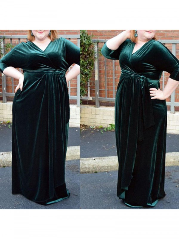 Charming Sheath V-neck 1/2 Sleeves Floor-Length Velvet Plus Size Dress