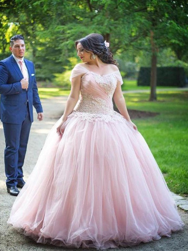 Classical Ball Gown Off-the-Shoulder Sleeveless Floor-Length Tulle Plus Size Dress