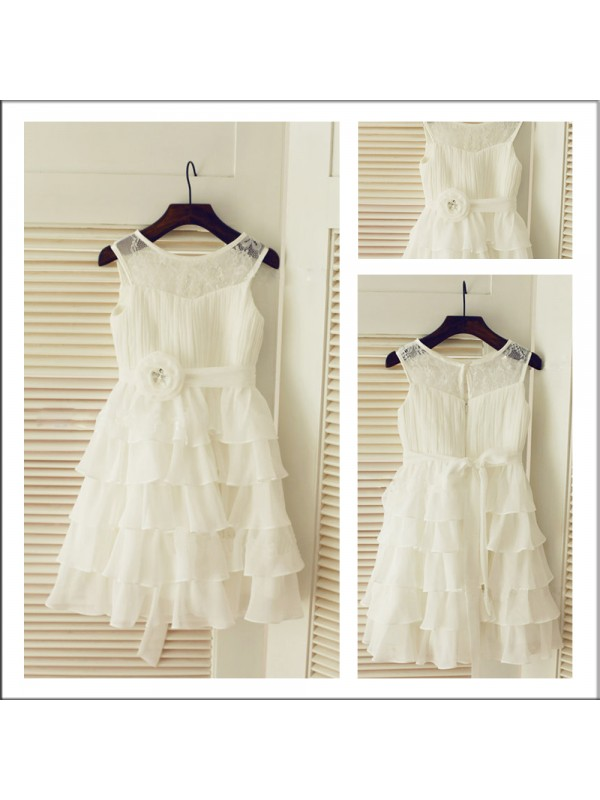 New A-Line Scoop Sleeveless Layers Tea-length Chiffon Flower Girl Dress