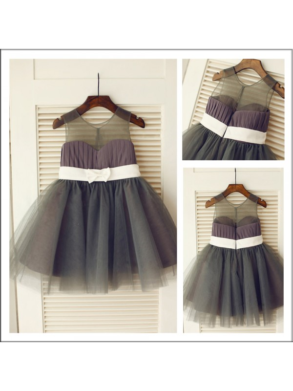 Discount A-Line Scoop Sleeveless Knee-length Tulle Flower Girl Dress