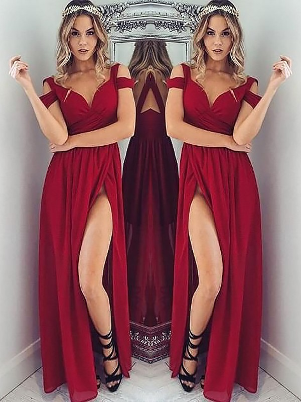 Gorgeous A-Line Off-the-Shoulder Sleeveless Floor-Length Chiffon Dress
