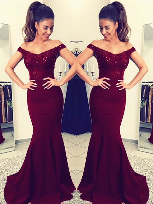 Gorgeous Mermaid Off-the-Shoulder Sleeveless Sweep/Brush Train Lace Satin Dress