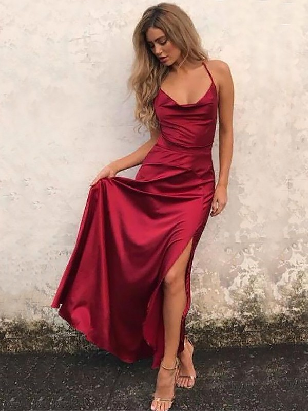 Gorgeous A-Line Spaghetti Straps Sleeveless Floor-Length Satin Dress