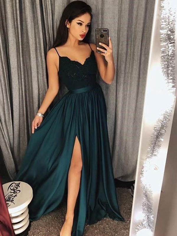 Unique A-Line Spaghetti Straps Sleeveless Floor-Length Lace Satin Dress