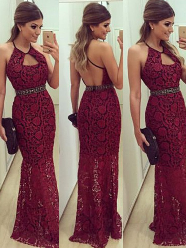 Stunning Sheath Sleeveless Floor-Length Halter Lace Dress