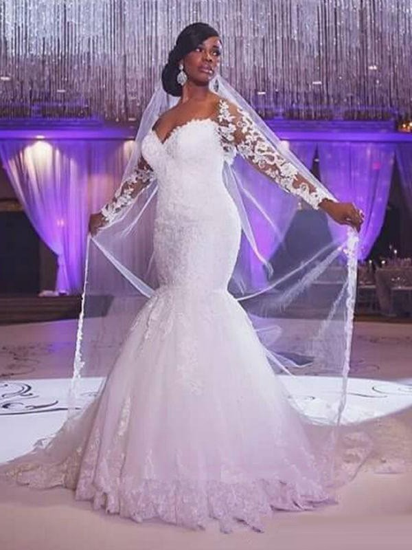 Discount Mermaid Long Sleeves Sweetheart Sweep/Brush Train Tulle Wedding Dress