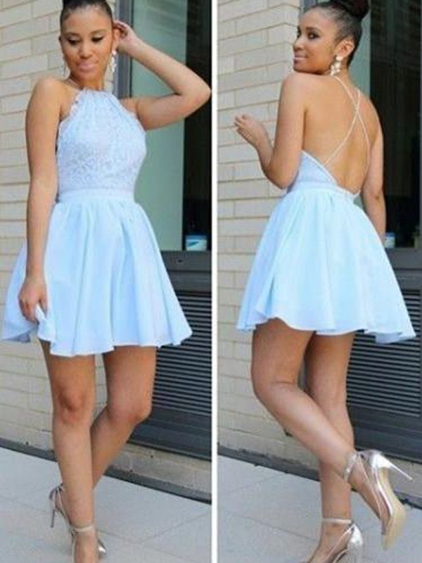 Discount A-Line Halter Sleeveless Lace Short/Mini Chiffon Dress