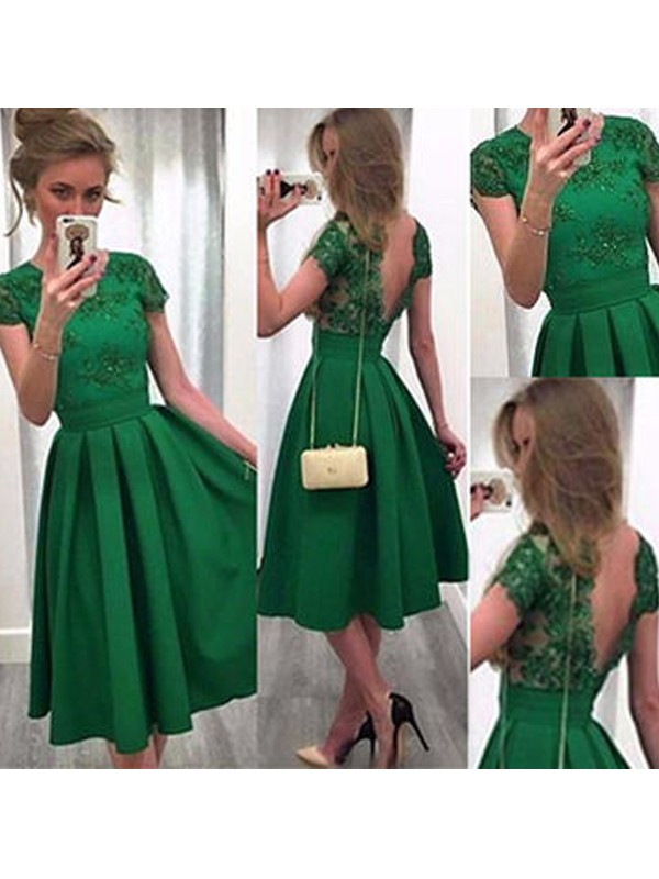 Discount A-Line Short Sleeves Scoop Lace Satin Short/Mini Dress