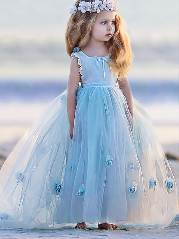 Chic Ball Gown Bateau Sleeveless Floor-Length Tulle Flower Girl Dress