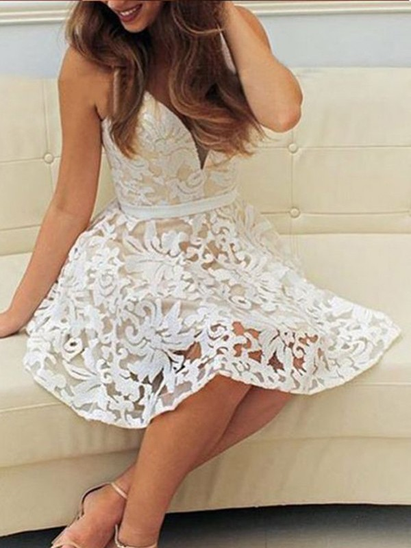 Stylish A-Line V-neck Sleeveless Short/Mini Lace Dress