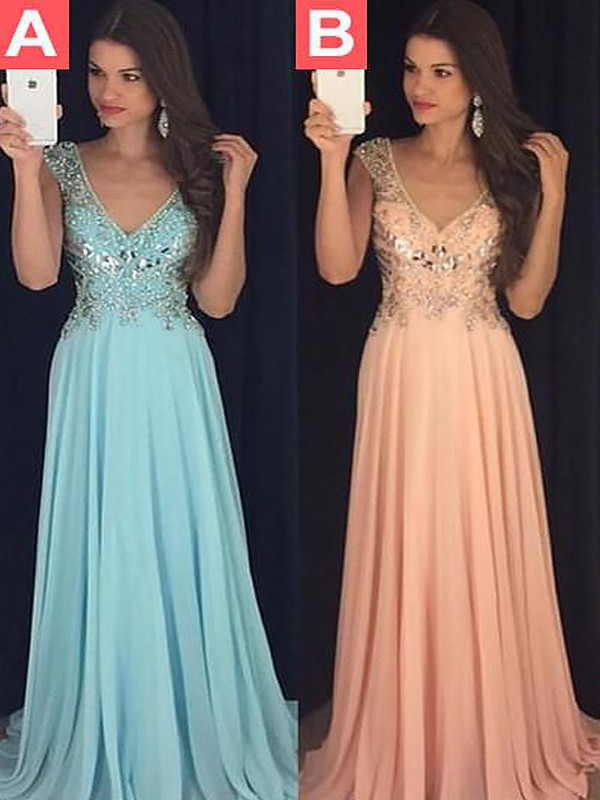 Stylish A-Line Sleeveless V-neck Chiffon Floor-Length Dress