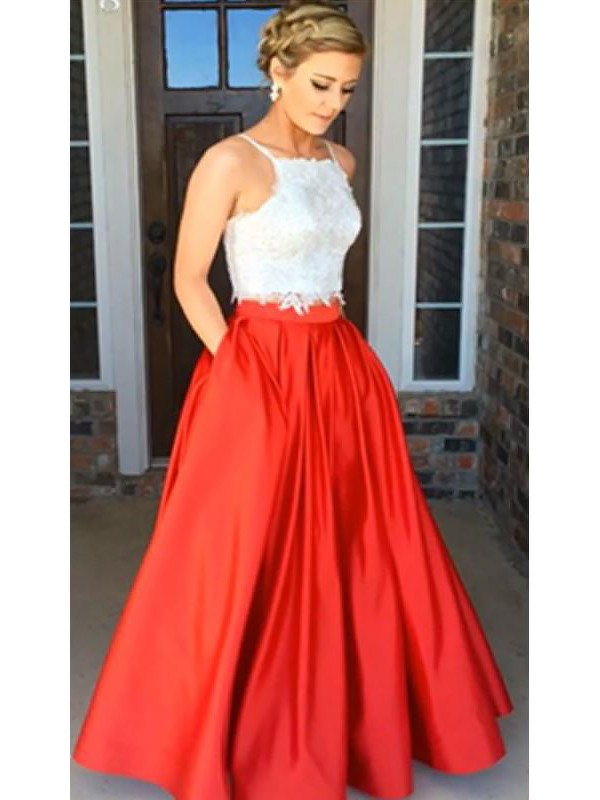 Stylish A-Line Spaghetti Straps Sleeveless Satin Floor-Length Lace Two Piece Dress