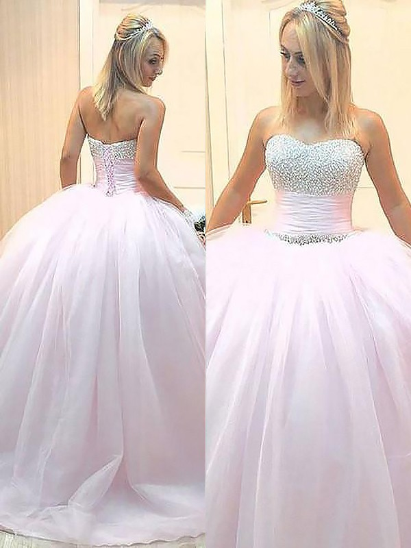 Fashion Ball Gown Sleeveless Sweetheart Floor-Length Tulle Dress