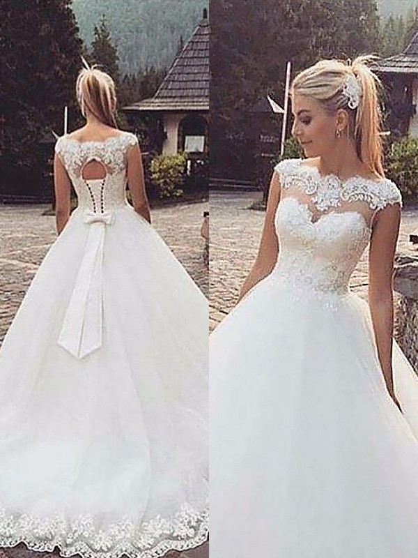 Exquisite Ball Gown Sleeveless Bateau Lace Tulle Court Train Wedding Dress
