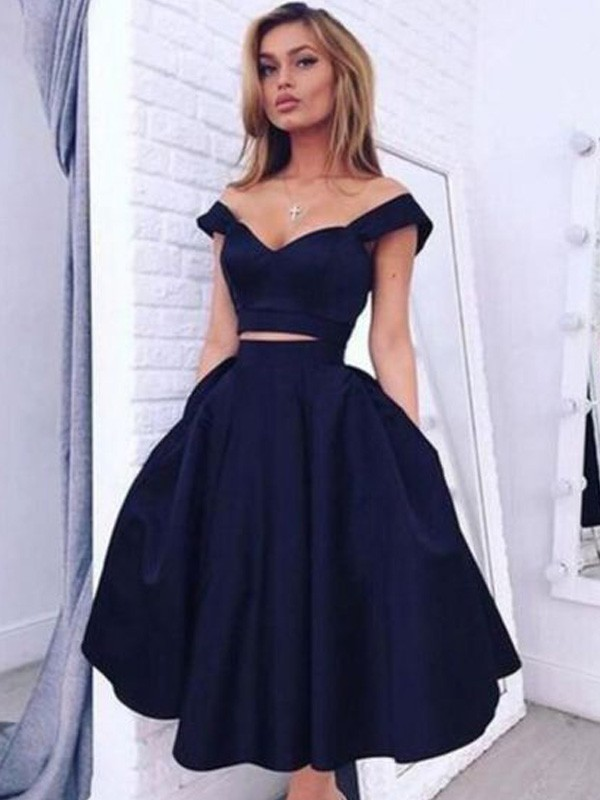 Discount A-Line Off-the-Shoulder Sleeveless Knee-Length Satin Two Piece Dress