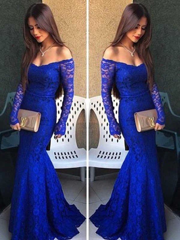 Stunning Mermaid Off-the-Shoulder Long Sleeves Lace Sweep/Brush Train Dress