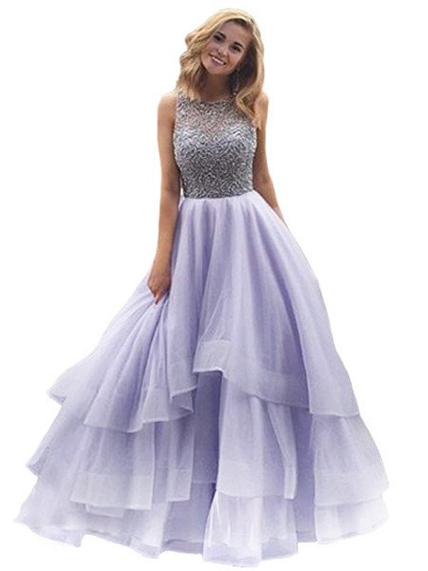 Stunning Ball Gown Scoop Sleeveless Floor-Length Organza Dress