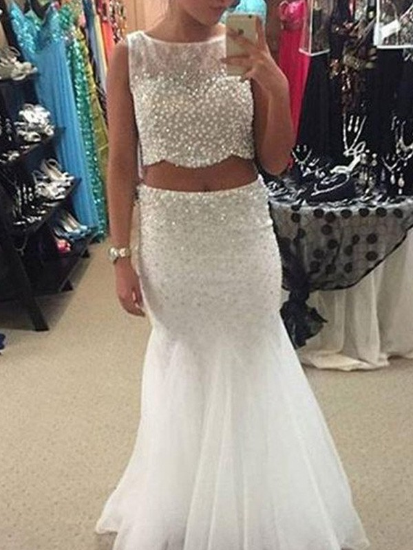 Stunning Mermaid Scoop Sleeveless Floor-Length Tulle Dress