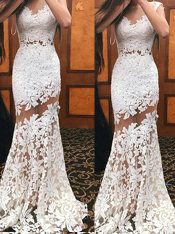 Stunning Mermaid Scoop Sleeveless Sweep/Brush Train Lace Dress