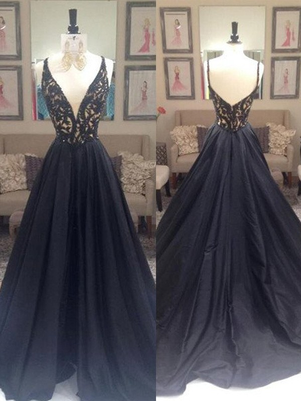 Stunning A-Line V-neck Sleeveless Sweep/Brush Train Taffeta Dress