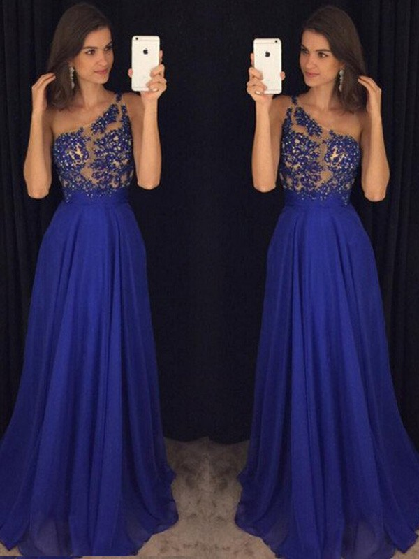 Stunning A-Line Sleeveless One-Shoulder Floor-Length Chiffon Dress
