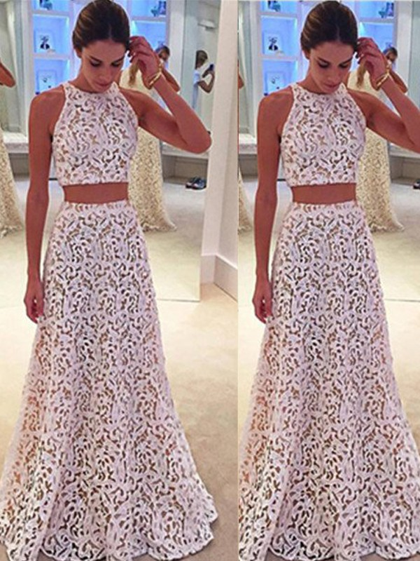 Stunning A-Line Scoop Sleeveless Floor-Length Lace Dress