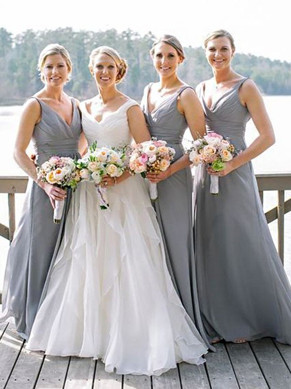 Affordable A-Line V-neck Sleeveless Floor-Length Chiffon Bridesmaid Dress