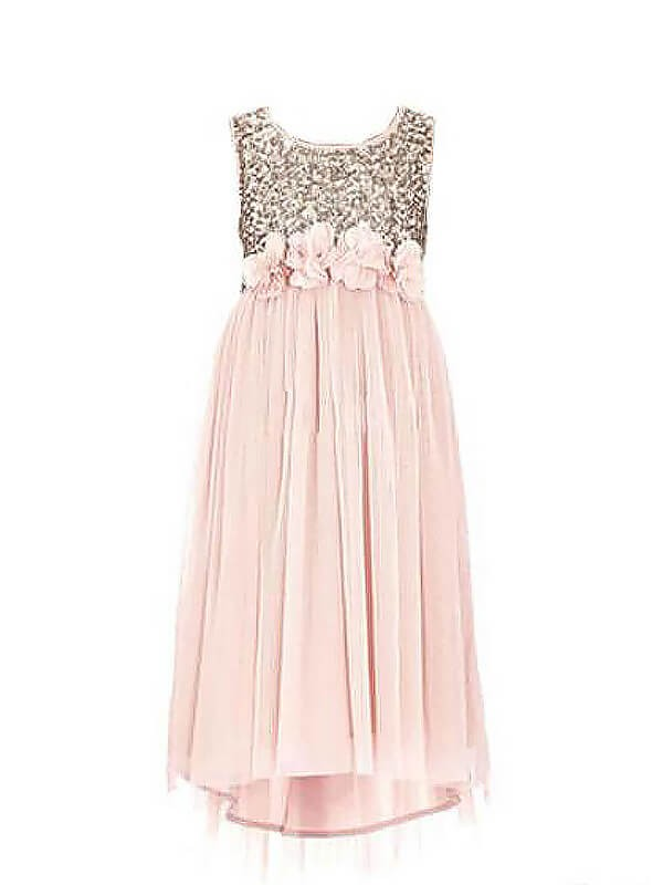 Chic A-Line Scoop Sleeveless Sequin Chiffon Floor-Length Flower Girl Dress