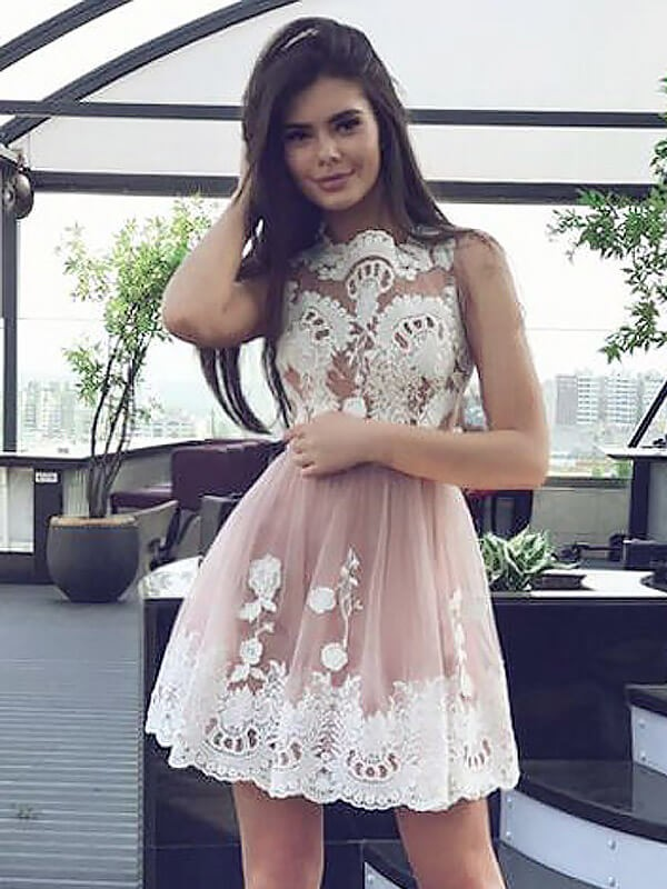 Stylish A-Line Scoop Sleeveless Lace Short/Mini Chiffon Dress