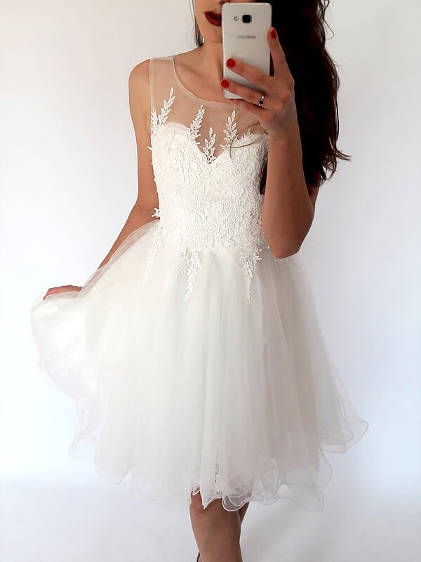Stylish A-Line Scoop Sleeveless Tulle Short/Mini Dress