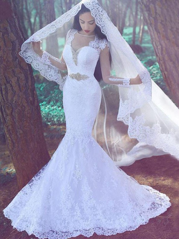 Fashion Mermaid Sweetheart Long Sleeves Lace Court Train Wedding Dress