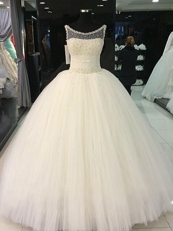 Fashion Ball Gown Scoop Tulle Sleeveless Floor-Length Wedding Dress