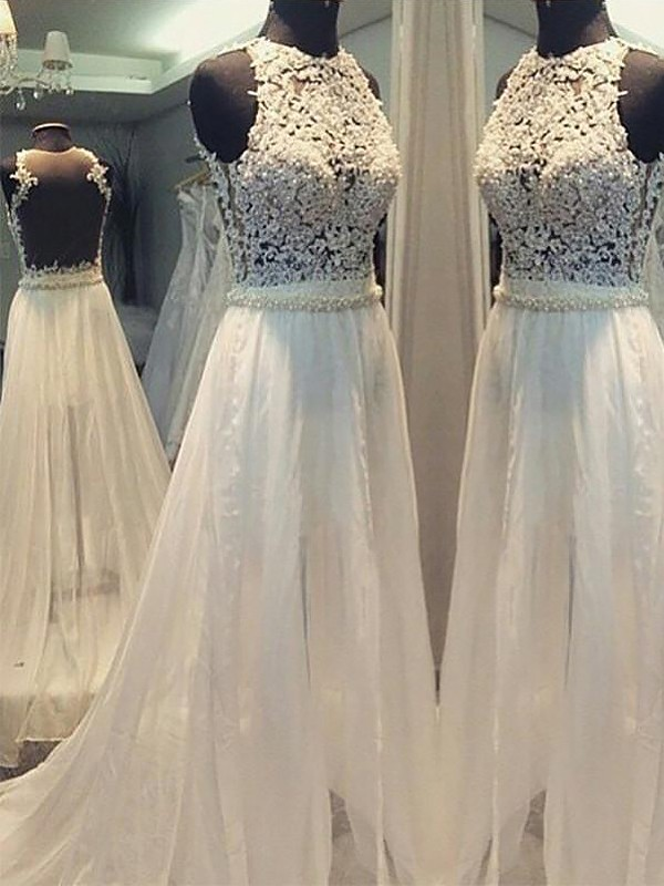 Exquisite A-Line Sweep/Brush Train Chiffon Scoop Sleeveless Wedding Dress