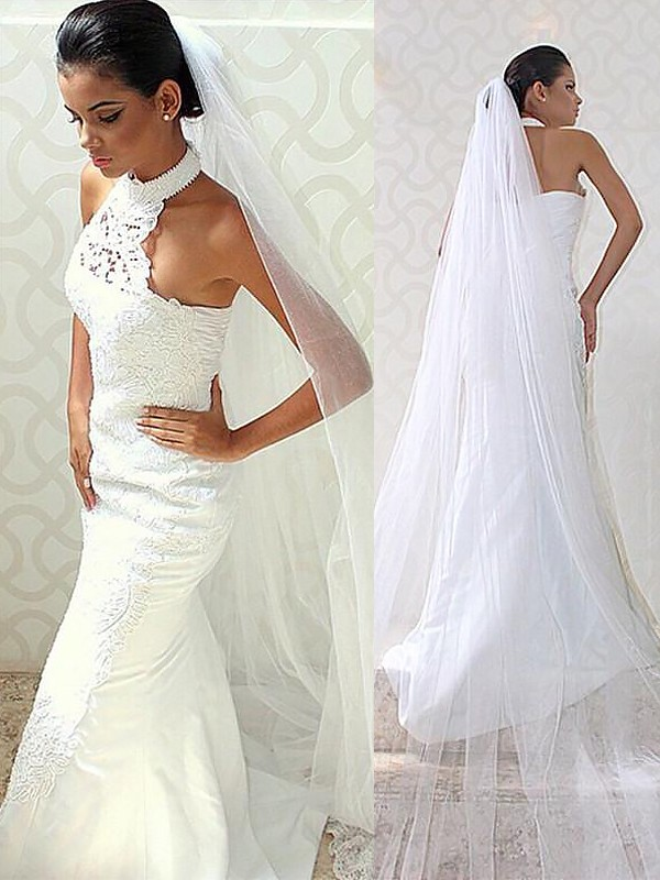Exquisite Mermaid Halter Sweep/Brush Train Satin Sleeveless Wedding Dress