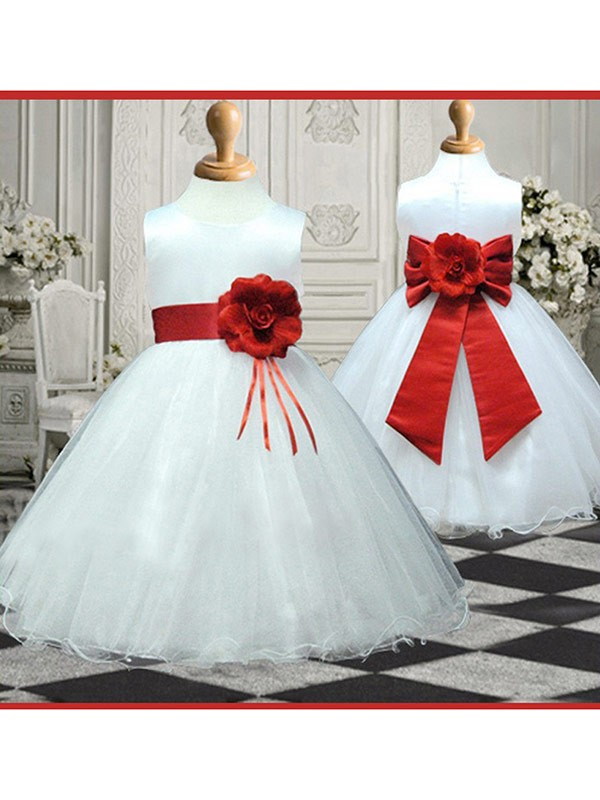 Stunning A-line Scoop Sleeveless Hand-made Flower Ankle-length Organza Flower Girl Dress
