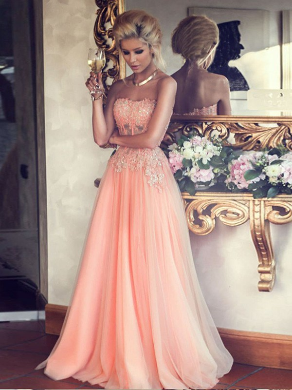 Cheap A-Line Strapless Sleeveless Floor-Length Chiffon Dress