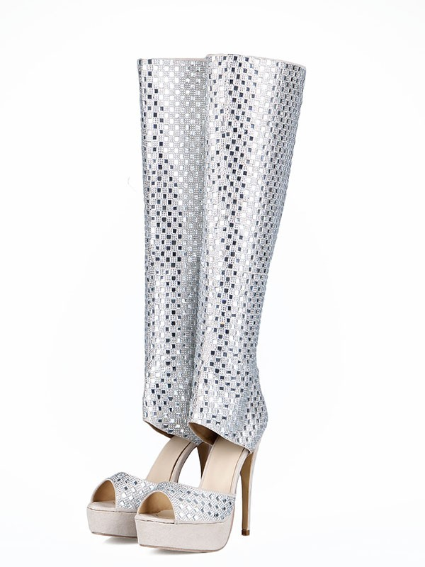 Fancy Women Flock Peep Toe Stiletto Heel Boots