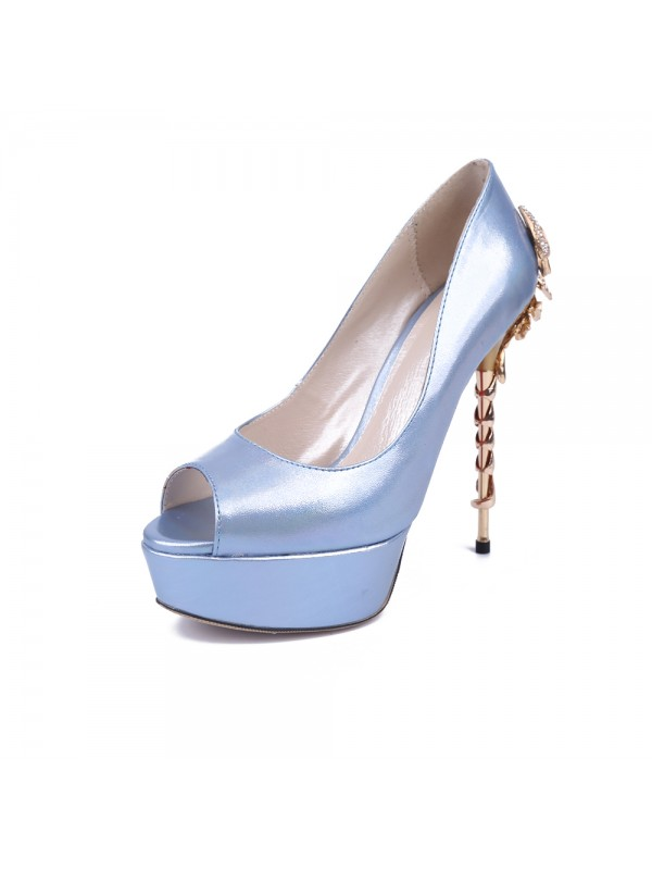 Fashion Women Peep Toe Stiletto Heel Platform Patent Leather Platforms Shoes