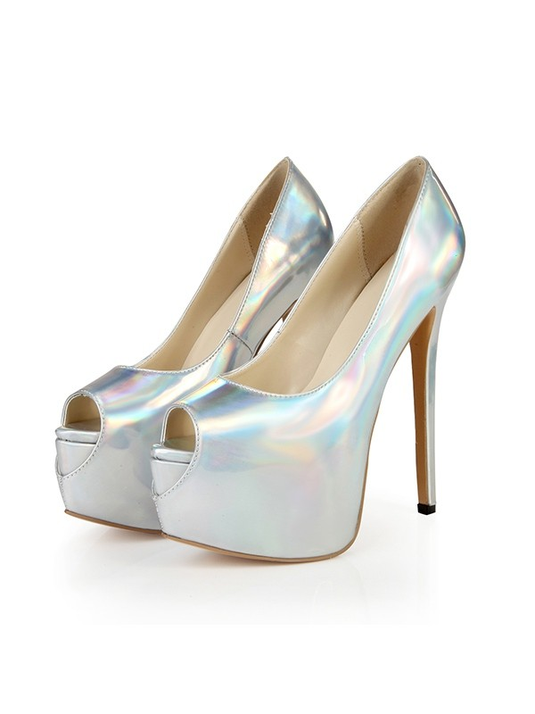 Fashion Women Peep Toe Platform Patent Leather Stiletto Heel Platforms Shoes