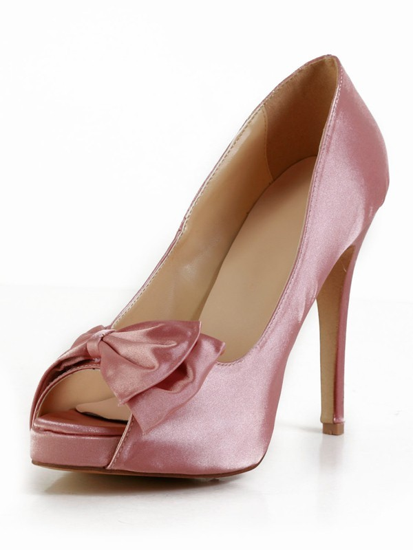 Classical Women Stiletto Heel Silk Peep Toe Platform Watermelon Wedding Shoes
